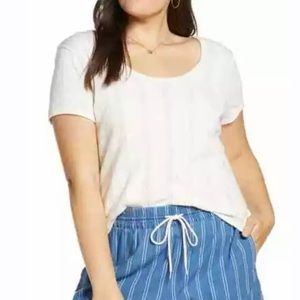Madewell Pointelle Ribbed Tee NWT ivory scoop